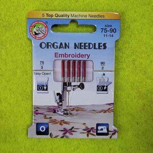Игла ORGAN 130/705H Embroidery Eco (набор) №75 (3 шт) №90 (2 шт)